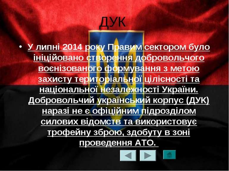 ДУК У липні 2014 року Правим сектором було ініційовано створення добровольчог...