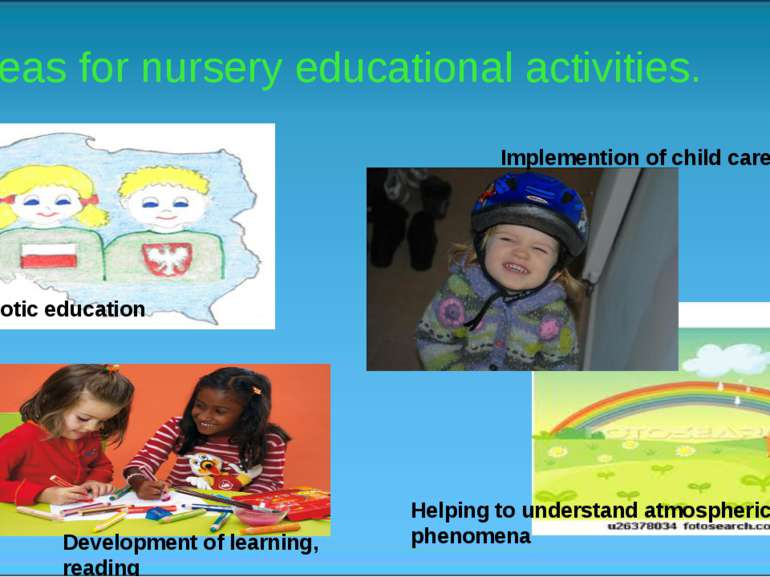 Areas for nursery educational activities. Patriotic education Helping to unde...