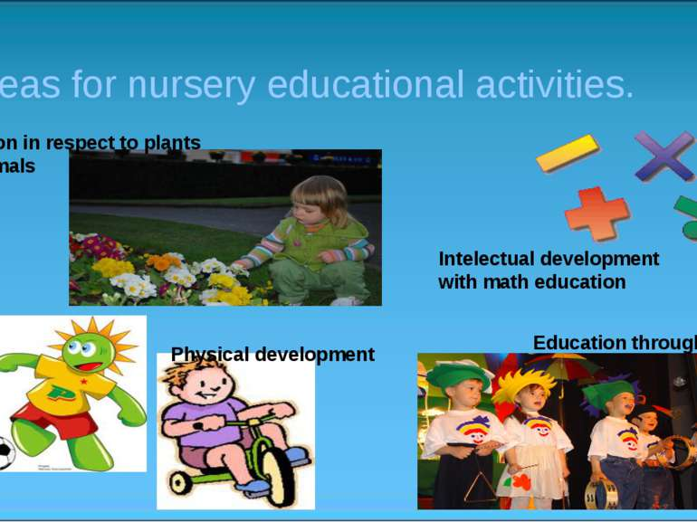 Areas for nursery educational activities. Education in respect to plants and ...