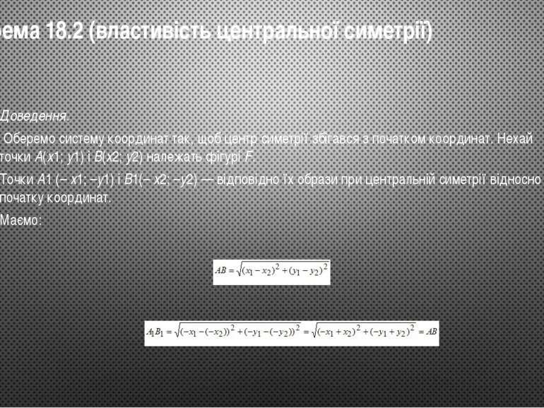 Теорема18.2 (властивість центральної симетрії) Доведення. Оберемо систему к...