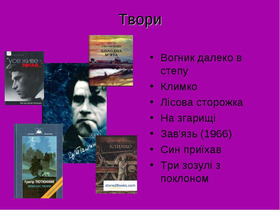 Твори Вогник далеко в степу Климко Лісова сторожка На згарищі Зав'язь (1966) ...