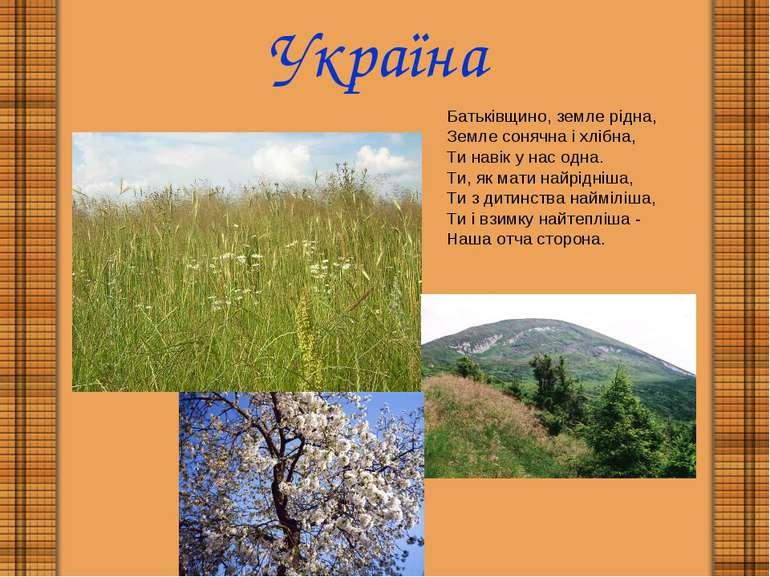 Україна Батьківщино, земле рідна, Земле сонячна і хлібна, Ти навік у нас одна...