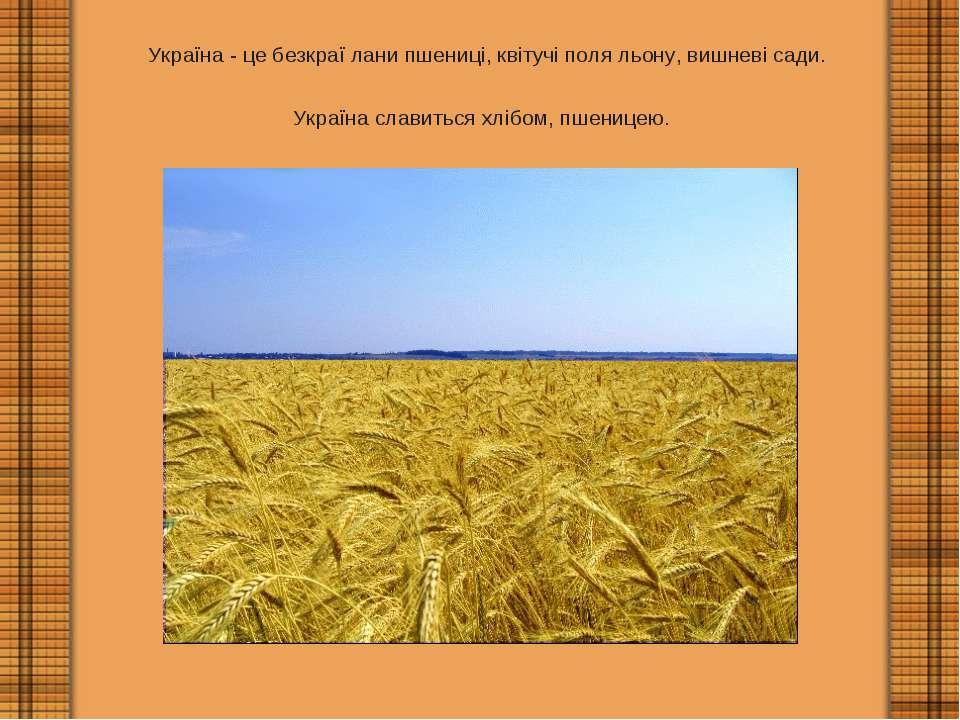 Україна - це безкраї лани пшениці, квітучі поля льону, вишневі сади. Україна ...
