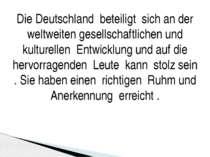Die Deutschland beteiligt sich an der weltweiten gesellschaftlichen und kultu...