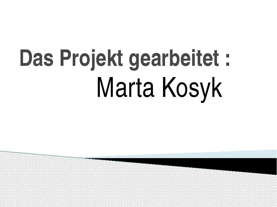 Das Projekt gearbeitet: Marta Kosyk