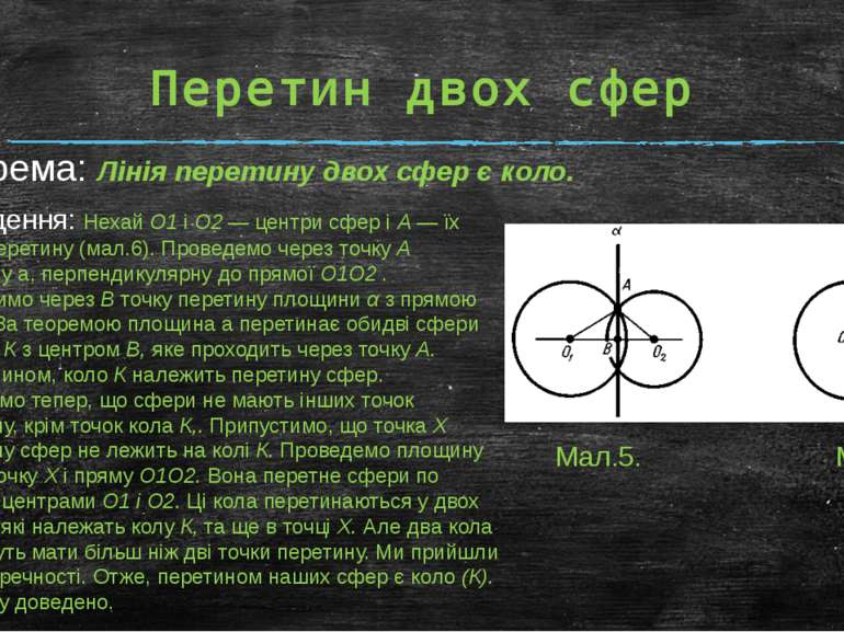 Перетин двох сфер