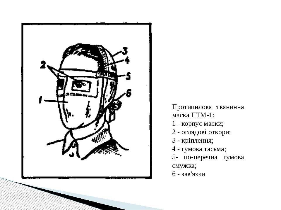 Протипилова тканинна маска ПТМ-1: 1- корпус маски; 2 -оглядові отвори; З -...