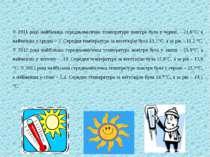 У 2011 році найбільша середньомісячна температура повітря була у червні – 21,...