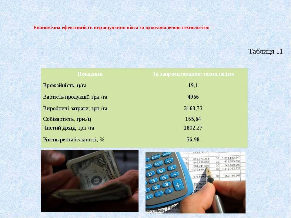 Економічна ефективність вирощування вівса за вдосконаленою технологією Таблиц...