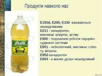 Продукти навколо нас E150d,E290, E330-вважаються нешкідливими E211-канце...