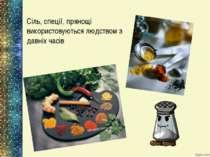 Сіль, спеції, прянощі використовуються людством з давніх часів