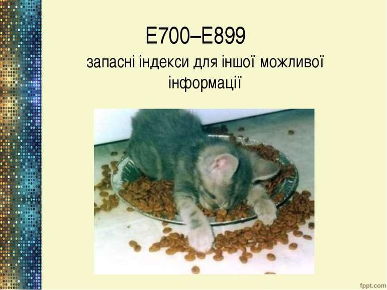 Е700–Е899 запасні індекси для іншої можливої інформації