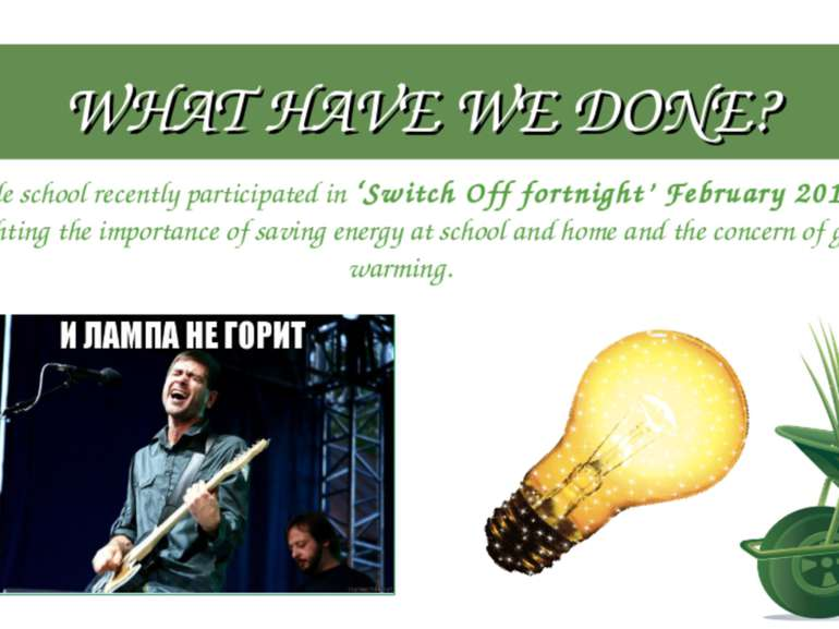 WHAT HAVE WE DONE? Whole school recently participated in 'Switch Off fortnigh...