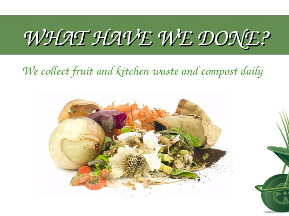WHAT HAVE WE DONE? We collect fruit and kitchen waste and compost daily