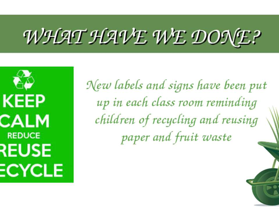 WHAT HAVE WE DONE? New labels and signs have been put up in each class room r...