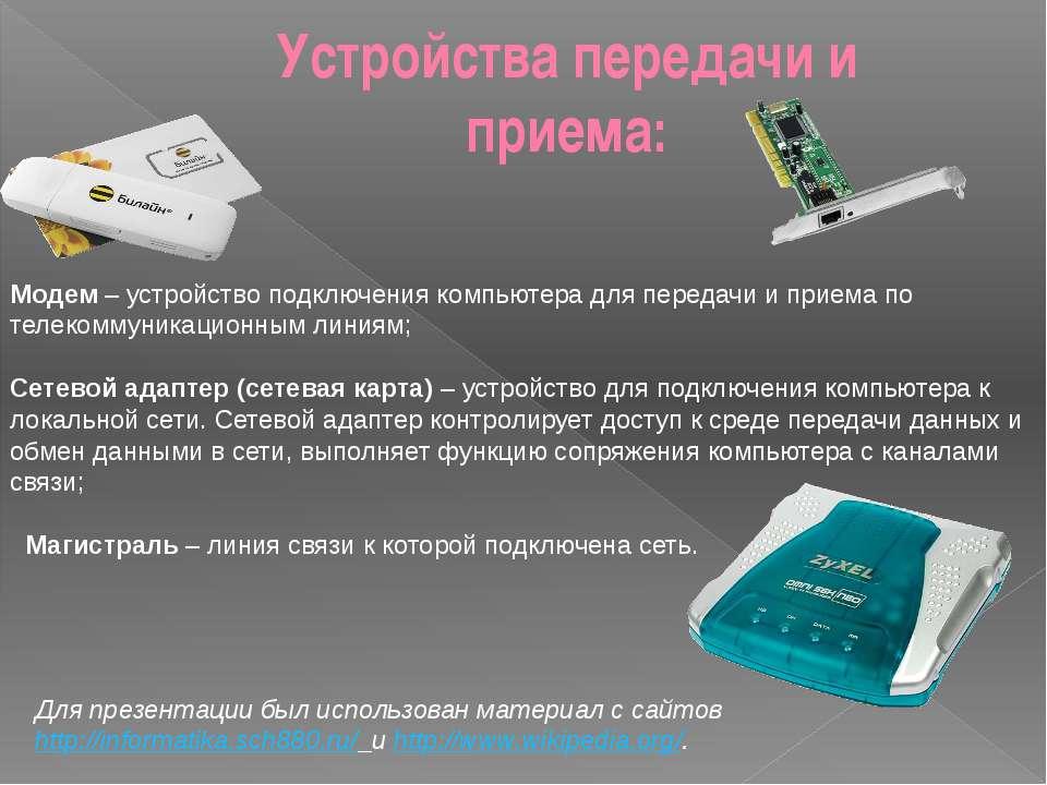 Устройства передачи и приема: Модем – устройство подключения компьютера для п...