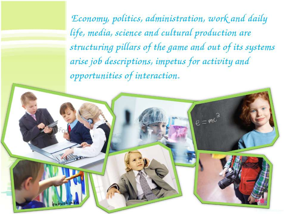 Economy, politics, administration, work and daily life, media, science and cu...