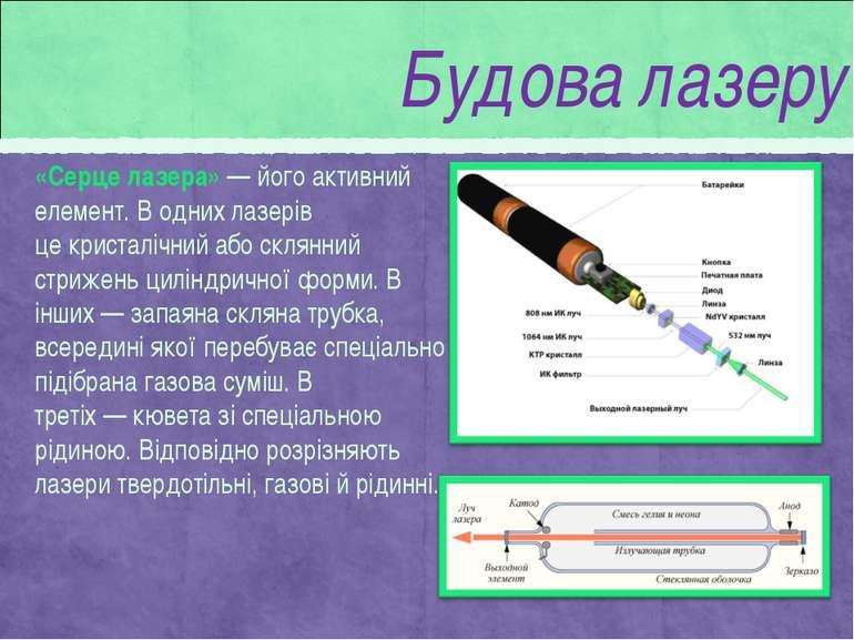 «Серце лазера»— його активний елемент. В одних лазерів цекристалічнийабо с...