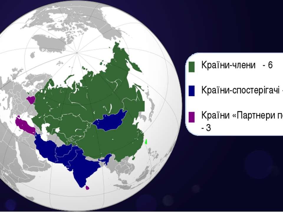 Країни-члени - 6 Країни-спостерігачі - 5 Країни «Партнери по діалогу» - 3