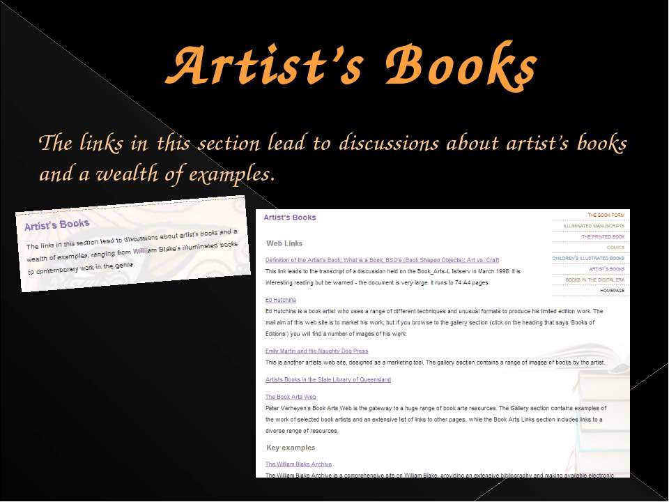 Artist's Books The links in this section lead to discussions about artist's b...