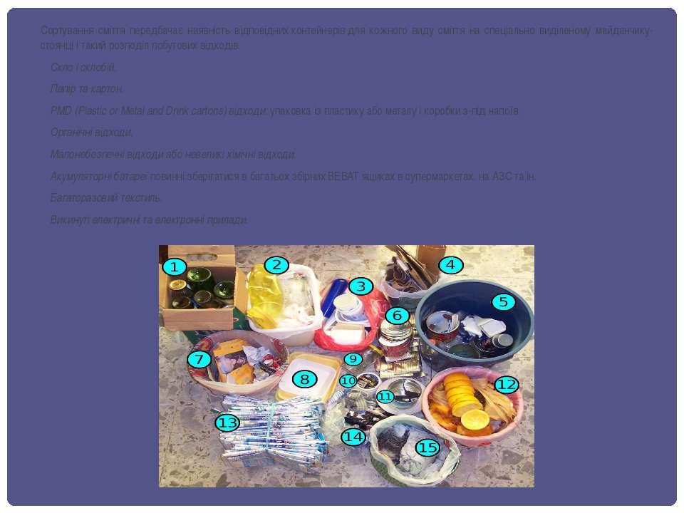 Сортування сміття передбачає наявність відповіднихконтейнерівдля кожного ви...