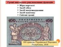 Гроші виконують ряд важливих функцій: Міра вартості Засіб обігу Засіб нагром...