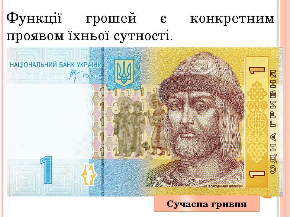 Функції грошей є конкретним проявом їхньої сутності. Сучаснагривня