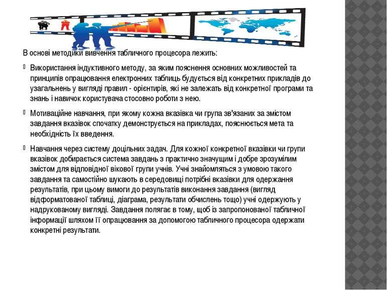 В основі методики вивчення табличного процесора лежить: Використання індуктив...