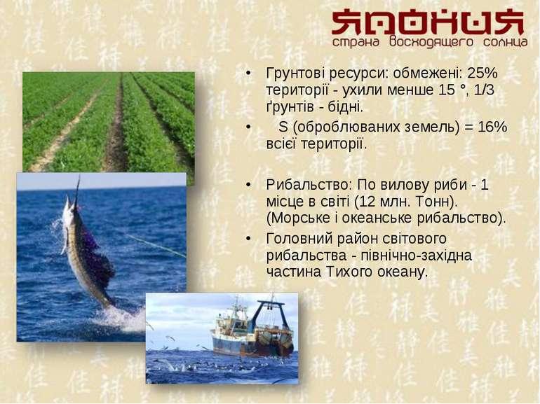Грунтові ресурси: обмежені: 25% території - ухили менше 15 °, 1/3 ґрунтів - б...