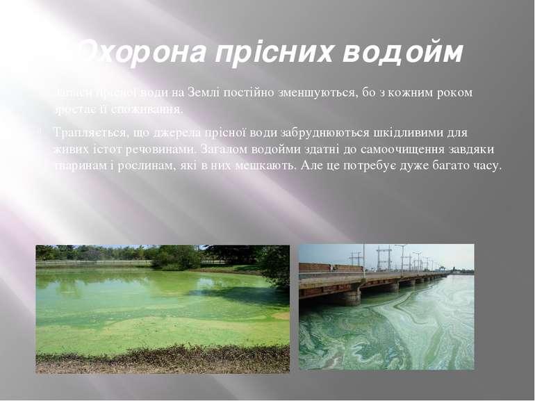 Охорона прісних водойм Запаси прісної води на Землі постійно зменшуються, бо ...