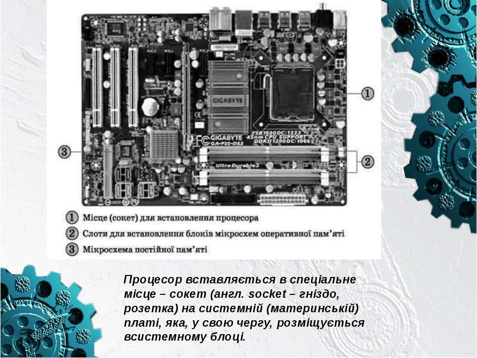 Процесор вставляється в спеціальне місце–сокет(англ. socket – гніздо, розе...