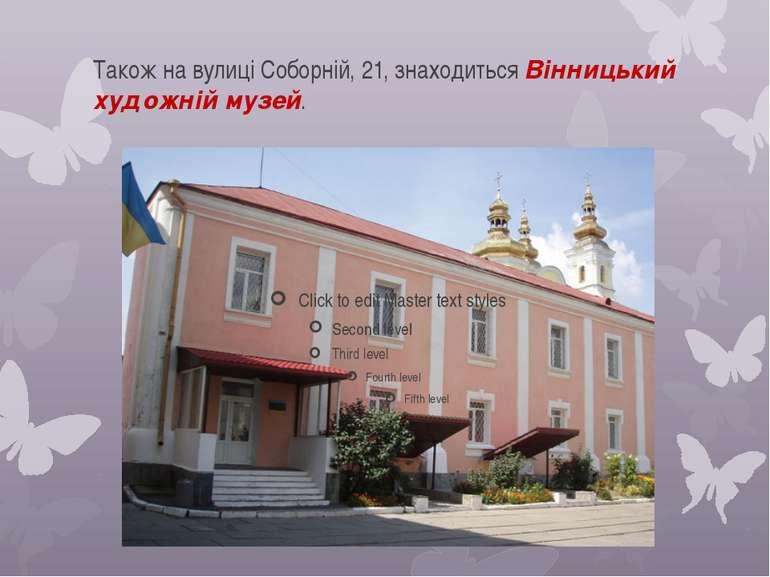 Також на вулиці Соборній, 21, знаходиться Вінницький художній музей.