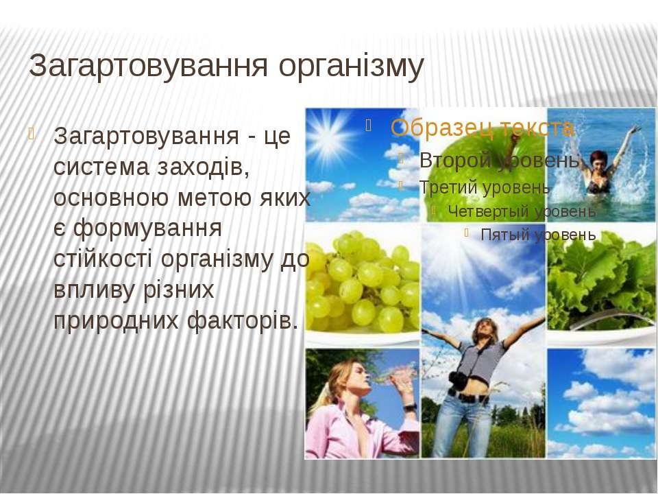Загартовування організму Загартовування - це система заходів, основною метою ...