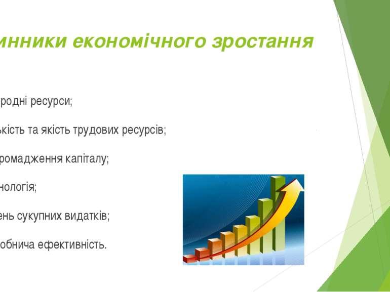 Чинники економічного зростання природні ресурси; кількість та якість трудових...
