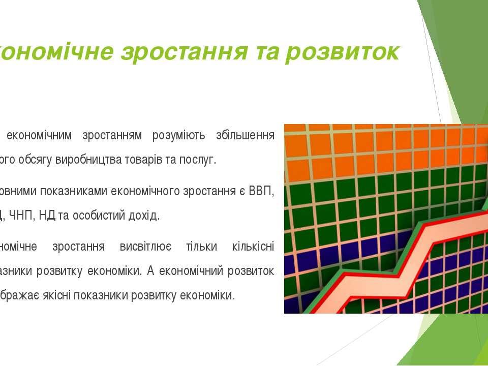 Економічне зростання та розвиток Під економічним зростанням розуміють збільше...
