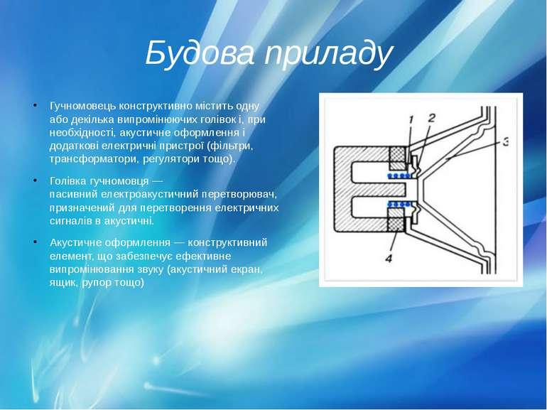 Будова приладу Гучномовець конструктивно містить одну або декілька випроміню...