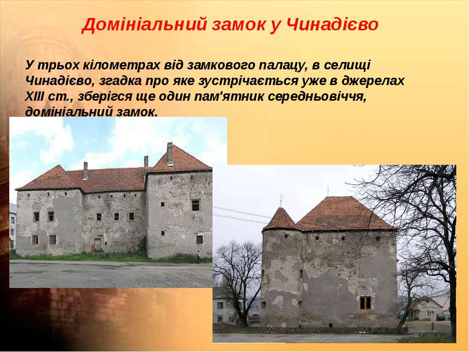Домініальний замок у Чинадієво У трьох кілометрах від замкового палацу, в сел...