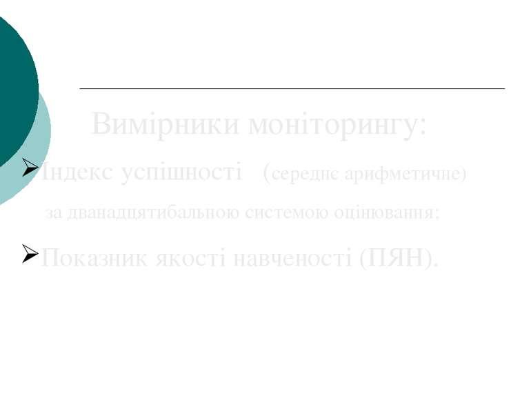 Вимірники моніторингу: Індекс успішності (середнє арифметичне) за дванадцятиб...