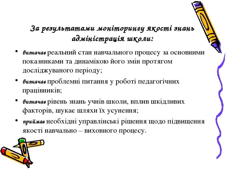 За результатами моніторингу якості знань адміністрація школи: визначає реальн...