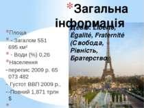 Загальна інформація Площа - Загалом 551 695км² - Води (%) 0,26 Населення ...