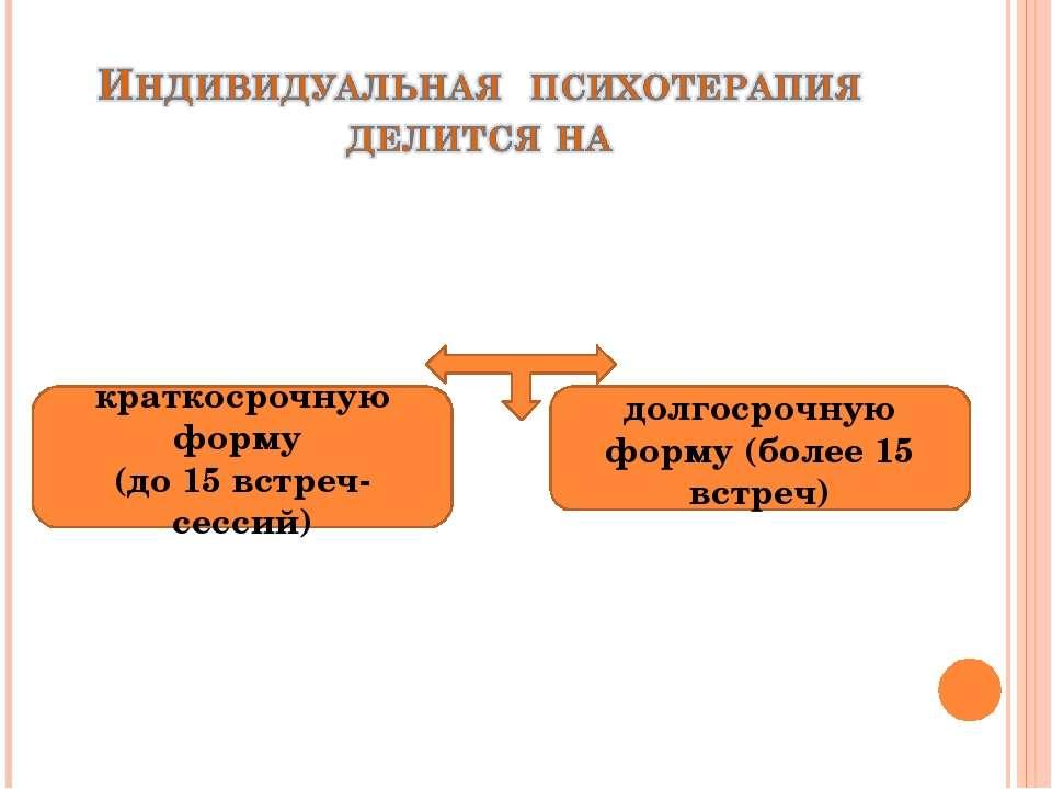 краткосрочную форму (до 15 встреч-сессий) долгосрочную форму (более 15 встреч)