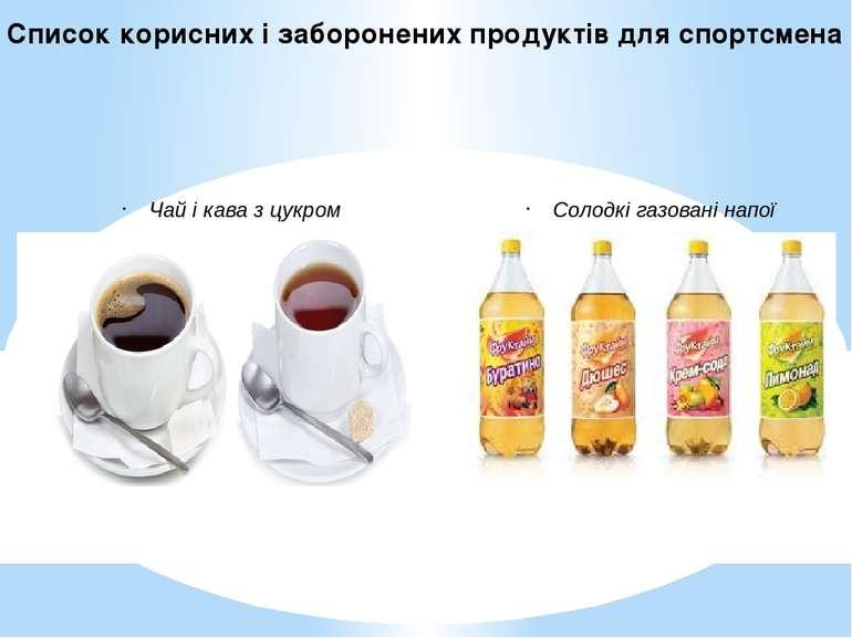 Чай і кава з цукром, солодкі газовані напої;