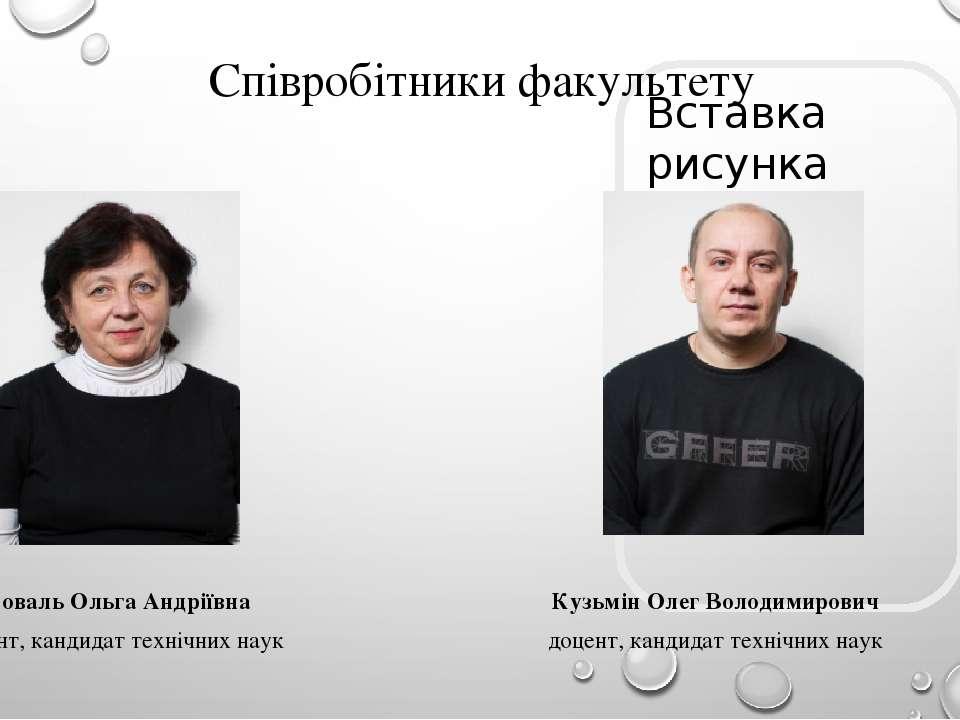 Співробітники факультету Коваль Ольга Андріївна доцент, кандидат технічних на...