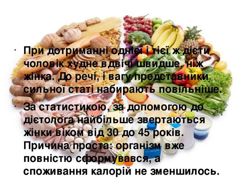 При дотриманні однієї і тієї ж дієти чоловік худне вдвічі швидше, ніж жінка. ...