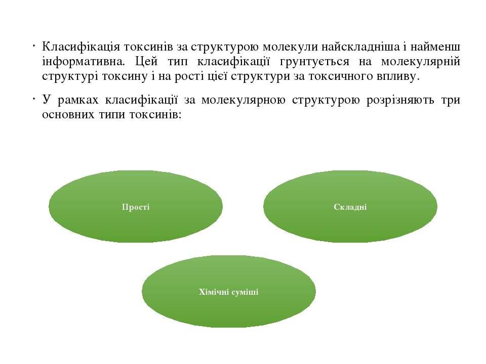 Класифікація токсинів за структурою молекули найскладніша і найменш інформати...