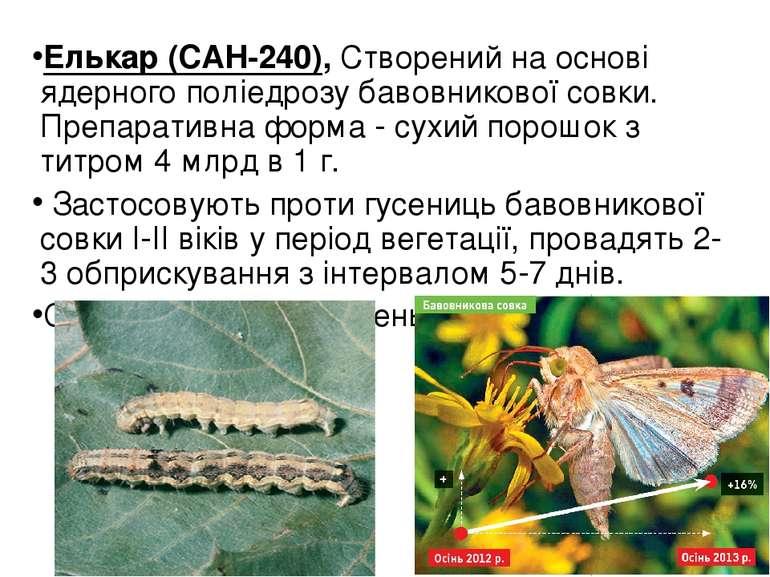 Елькар (САН-240), Створений на основі ядерного поліедрозу бавовникової совки....