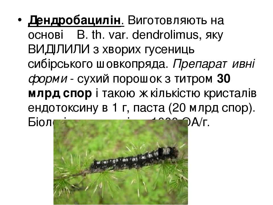 Дендробацилін. Виготовляють на основі В. th. var. dendrolimus, яку ВИДІЛИЛИ з...