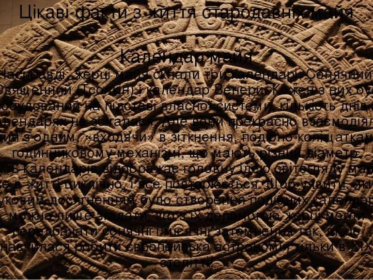 Цікаві факти з життя стародавніх майя Календар майя Насправді, жерці майя скл...