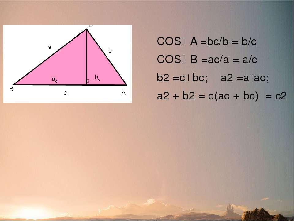 Доведення №4 (за допомогою тригонометричних функцій) COS A =bc/b = b/c COS B ...