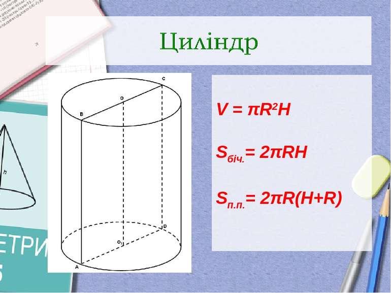 V = πR2H Sбіч.= 2πRH Sп.п.= 2πR(H+R)